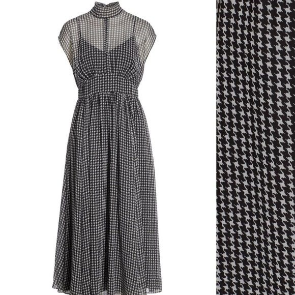 Kate Spade Houndstooth Chiffon Tie Neck Dress